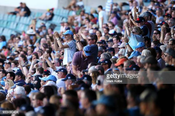 the crowd applaud during the round five Super Rugby match between the Waratahs and the Rebels at Allianz Stadium on March 18 2018 in Sydney Australia