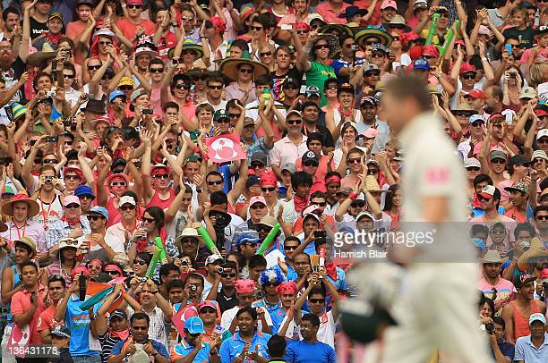 The crowd applaud Michael Clarke of Australia on his triple century during day three of the Second Test Match between Australia and India at Sydney...