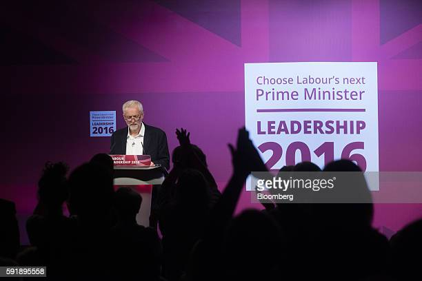 The crowd applauds as Jeremy Corbyn leader of the UK opposition Labour Party speaks during a headtohead debate against Owen Smith candidate for...