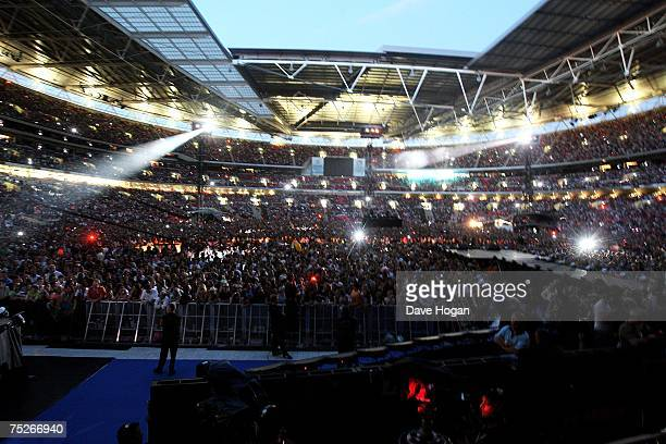 The crowd are seem from the stage during the Live Earth concert at Wembley Stadium on July 7 2007 in London England Live Earth is a 24hour 7continent...