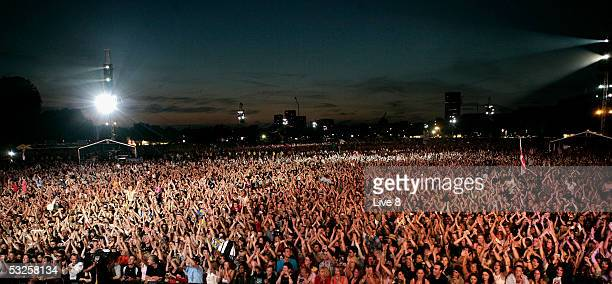 The crowd are seen from the stage at 'Live 8 London' in Hyde Park on July 2 2005 in London England The free concert is one of ten simultaneous...