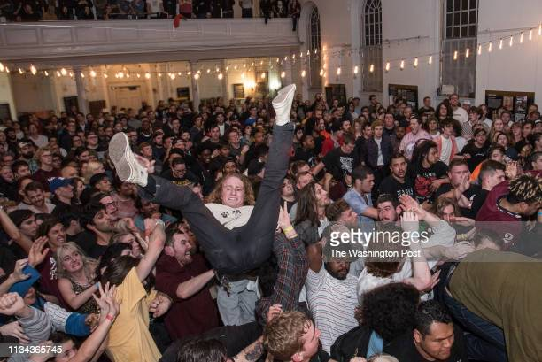 The crowd as Turnstile performs at the Damaged City 2018 preshow at All Souls Church
