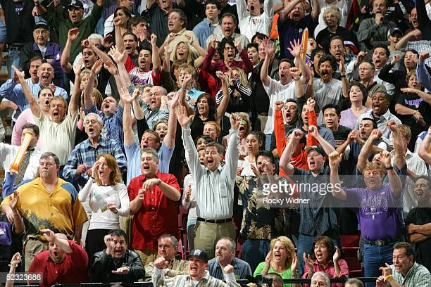 The crowd at ARCO arena celebrates Mike Bibby's game winning three pointer against the Memphis Grizzlies on March 8 2005 at Arco Arena in Sacramento...