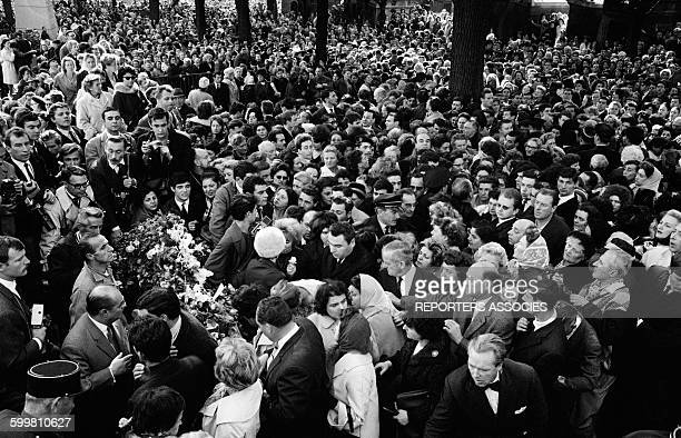 The Crowd at Funeral of French Singer Edith Piaf at the Père Lachaise Cemetery in Paris France on October 14 1963