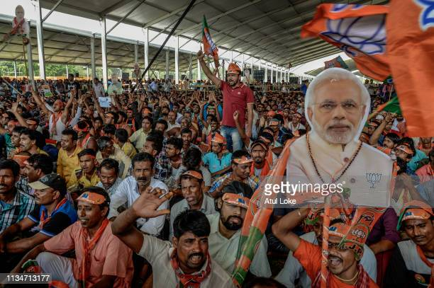 The crowd at Indian Prime Minister Narendra Modi's public rally at Brigade ground on April 3, 2019 in Kolkata, India. Prime Minister Narendra Modi...