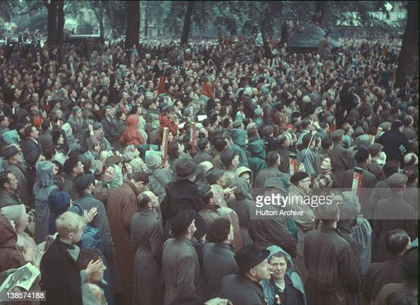 The crowd at Marble Arch on the day of Queen Elizabeth II's coronation some are using periscopes to get a better view 2nd June 1953