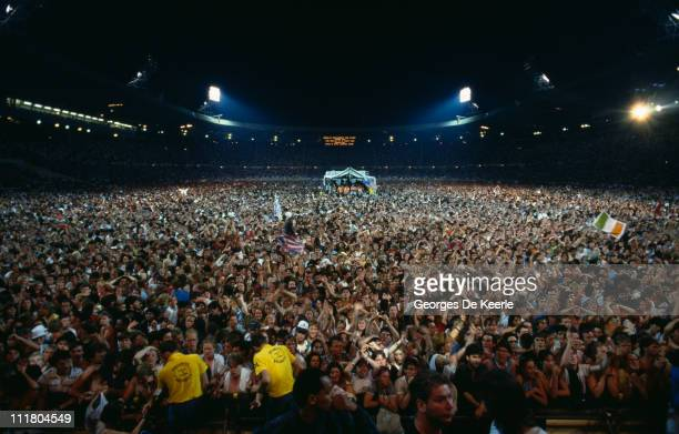 The crowd at the end of the Live Aid concert at Wembley Stadium London 13th July 1985 The concert raised money for famine relief in Ethiopia