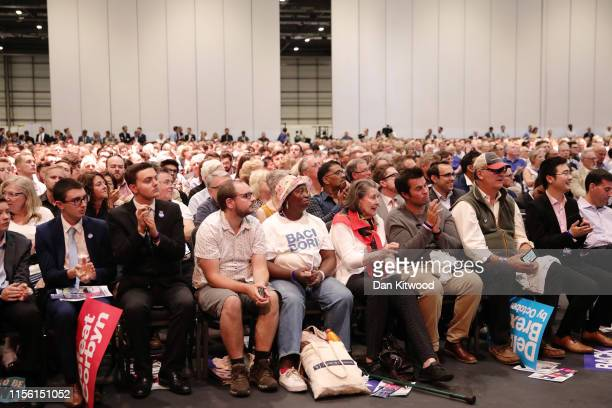 The crowd at the final hustings of the Conservative leadership campaign at ExCeL London on July 17 2019 in London England Boris Johnson and Jeremy...