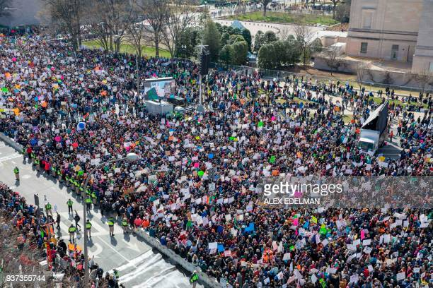 The crowd at the March for Our Lives Rally as seen from the roof of the Newseum in Washington DC on March 24 2018 Galvanized by a massacre at a...