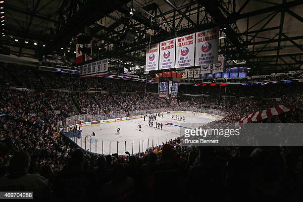 The crowd awaits the start of the game between the New York Islanders and the Columbus Blue Jackets at the Nassau Veterans Memorial Coliseum on April...