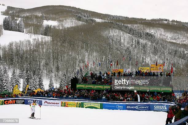 The crowd builds at the finish line as spectators look for a view of the finish line at the FIS Alpine World Cup Men's Super Combined on November 30...
