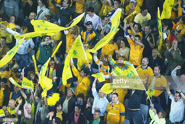 The crowd celebrate a goal during the second leg of the 2006 FIFA World Cup qualifying match between Australia and Uruguay at Telstra Stadium...