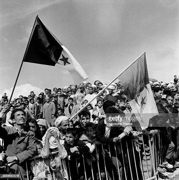 The crowd celebrates the arrival of Ahmed Ben Bella and Algerian leaders after release in March 1962 in Rabat Morocco