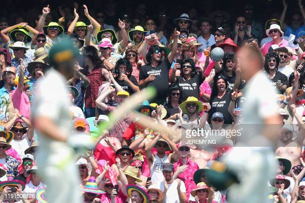 The crowd celebrates the double century of Australia's Marnus Labuschagne during the second day of the third cricket Test match between Australia and...