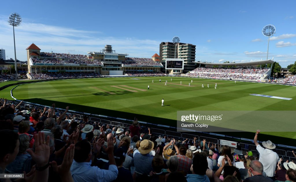 The crowd cheer as Ben Stokes of England dismisses South Africa captain Faf du Plessis during day three of the 2nd Investec Test match between England and South Africa at Trent Bridge on July 16, 2017 in Nottingham, England.
