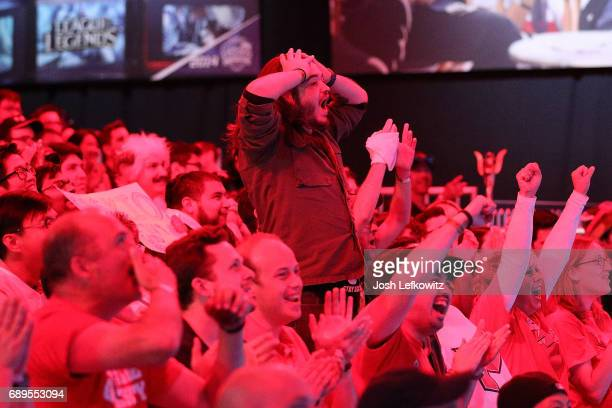 The crowd cheers as Maryville University wins the championship in the League of Legends College Championship at the NA LCS Studio at Riot Games Arena...