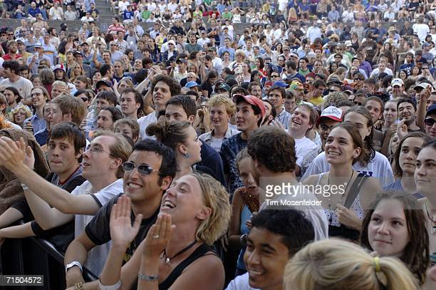 The crowd cheers as The Flaming Lips perform in support of the band's 'At War with the Mystics' release at the Greek Theater on July 22 2006 in...