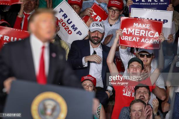 The crowd cheers as US President Donald Trump speaks during a 'Make America Great Again' campaign rally at Williamsport Regional Airport May 20 2019...