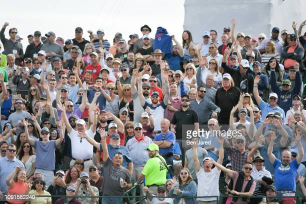 The crowd cheers during the Annexes ProAm prior to the Waste Management Phoenix Open at TPC Scottsdale on January 30 2019 in Scottsdale Arizona