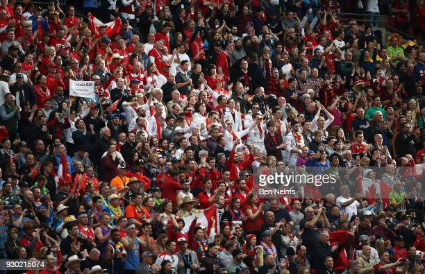 The crowd cheers on Canada as they take to the field to play the United States during the Canada Sevens the Sixth round of the HSBC Sevens World...
