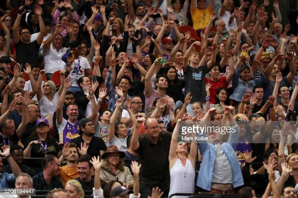 The crowd do the wave during the round 20 NBL match between the Sydney Kings and the Illawarra Hawks at Qudos Bank Arena on February 14, 2020 in...
