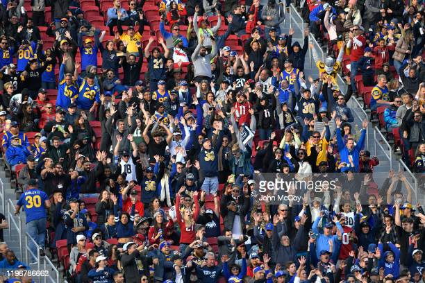 The crowd does the wave while the Los Angeles Rams play the Arizona Cardinals at Los Angeles Memorial Coliseum on December 29, 2019 in Los Angeles,...