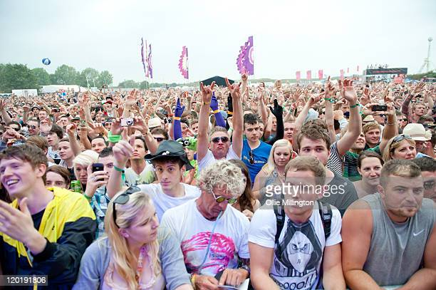 The crowd during the Beardyman performance on the main stage during the first day of Global Gathering at Long Marston Airfield on July 29 2011 in...