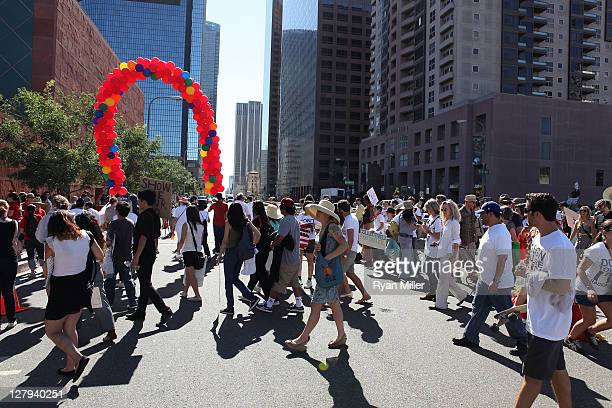 The crowd during the Trespass Parade at MOCA during the Parade during the Pacific Standard Time: Art in LA 1945-1980 free day activities at MOCA on...