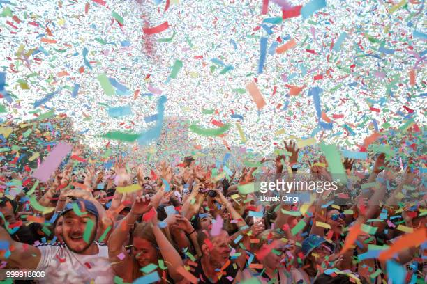 The crowd enjoy a confetti shower at Citadel festival at Gunnersbury Park on July 15 2018 in London England