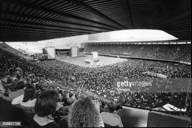 The crowd enjoy rock group Simple Minds in concert at The National Stadium Cardiff Arms Park Cardiff Wales Picture taken 5th August 1989