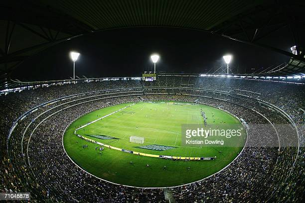 The crowd enjoy the action during the Powerade Cup international friendly match between Australia and Greece at the Melbourne Cricket Ground May 25,...