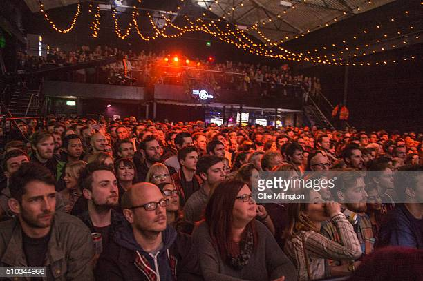 The crowd enjoy the atmosphere as Everything Everything perform onstage on Day 3 of the BBC 6 Music Festival at Motion on February 14 2016 in Bristol...