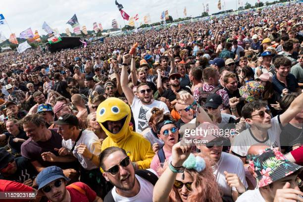 The crowd enjoy the atmosphere as Slaves performs on the Other Stage during day five of Glastonbury Festival at Worthy Farm, Pilton on June 30, 2019...