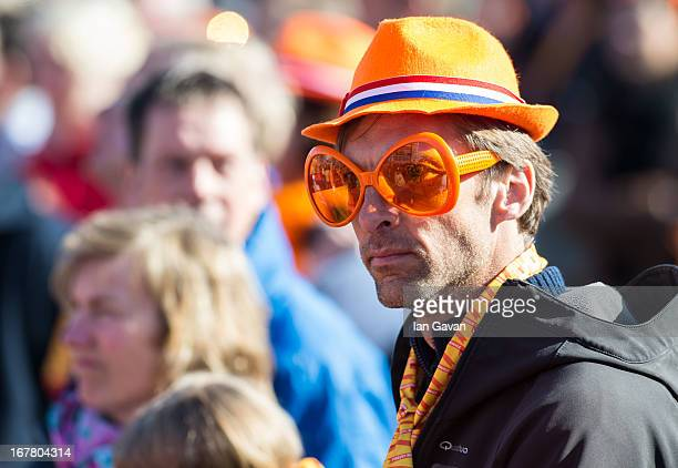 The crowd enjoy the atmosphere at Museumplien during the inauguration of King Willem Alexander of the Netherlands as Queen Beatrix of the Netherlands...