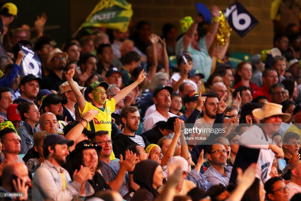 The crowd enjoy the atmosphere during game one of the International Twenty20 series between Australia and New Zealand at Sydney Cricket Ground on February 3, 2018 in Sydney, Australia.