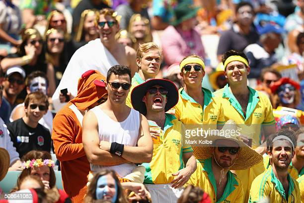The crowd enjoy the atmosphere during the 20146 Sydney Sevens match between Canada and Wales at Allianz Stadium on February 6 2016 in Sydney Australia