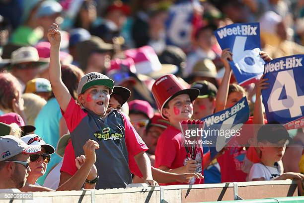 The crowd enjoy the atmosphere during the Big Bash League match between the Sydney Sixers and the Hobart Hurricanes at Sydney Cricket Ground on...