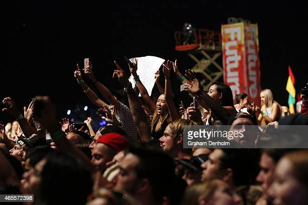 The crowd enjoy the show during Future Music Festival 2015 at Flemington Racecourse on March 8 2015 in Melbourne Australia