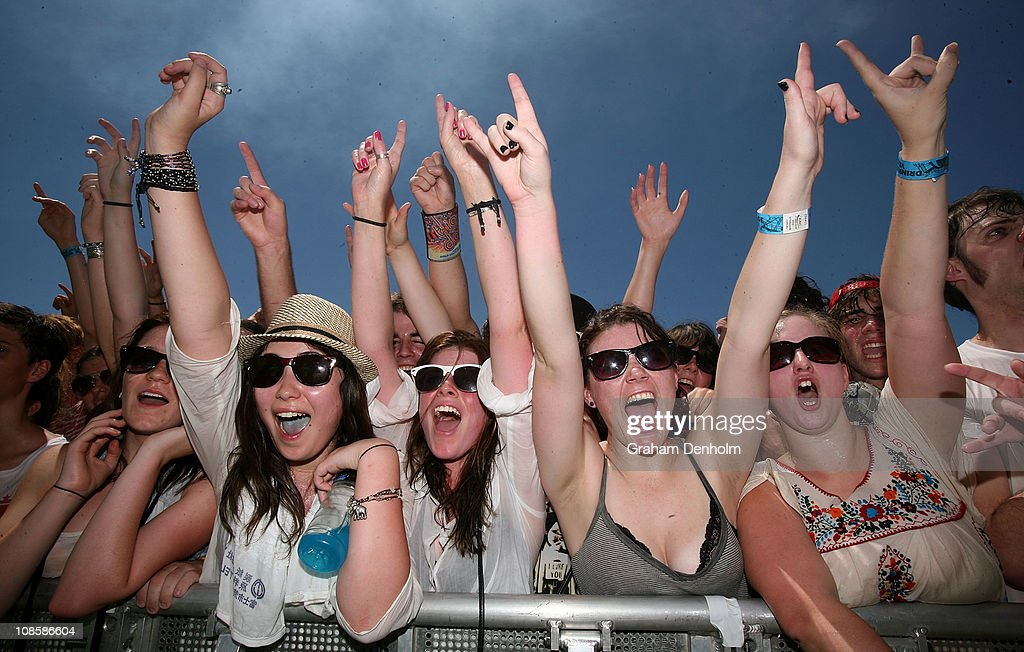 The crowd enjoy the show during the Big Day Out Festival at Flemington Racecourse on January 30, 2011 in Melbourne, Australia.
