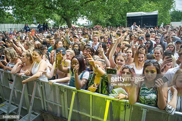 The crowd enjoying the atmosphere during Day 2 of Wireless Festival 2016 at Finsbury Park on July 9 2016 in London England