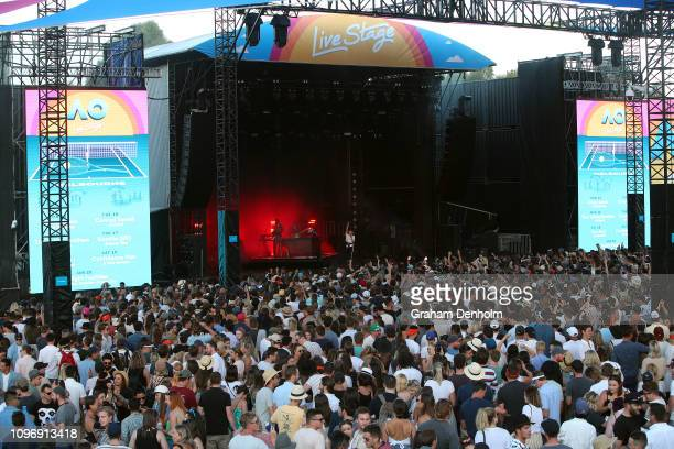 The crowd enjoys the show as Flight Facilities perform on the AO Live Stage during day seven of the 2019 Australian Open at Melbourne Park on January...