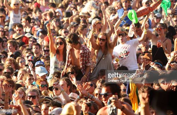 The crowd enjoys the show on day two of The Falls Festival 2009 held in Otway rainforest on December 30 2009 in Lorne Australia