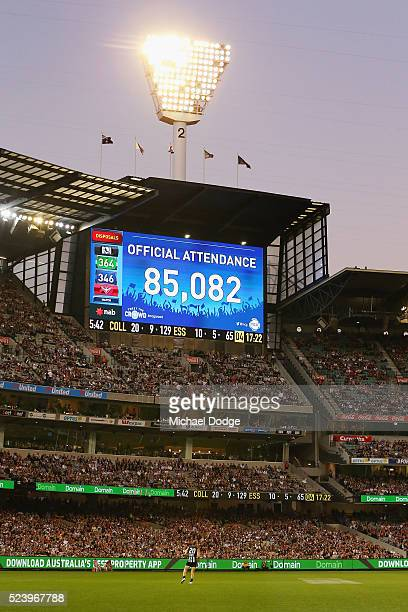 The crowd figure is seen during the round five AFL match between the Collingwood Magpies and the Essendon Bombers at Melbourne Cricket Ground on...