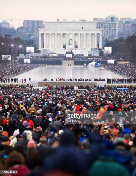 The crowd gathered on the National Mall for the Opening Inaugural Celebration at the Lincoln Memorial stretched past the Washington Monument on...