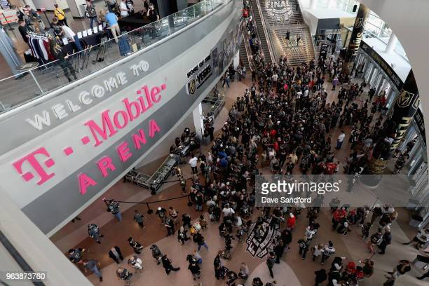 The crowd gathers before Game Two of the 2018 NHL Stanley Cup Final between the Washington Capitals and the Vegas Golden Knights at TMobile Arena on...