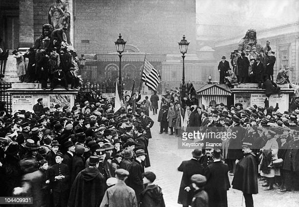 The crowd gathers in front of the Chamber of the Deputies in Paris on November 11 1918 Jubilant Parisians reunited in the streets to celebrate the...