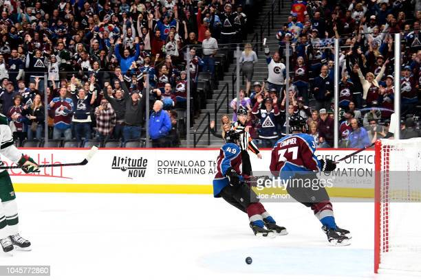 The crowd goes wild after JT Compher of the Colorado Avalanche drops the second empty netter in the 3rd period as the Colorado Avalanche win 41 over...