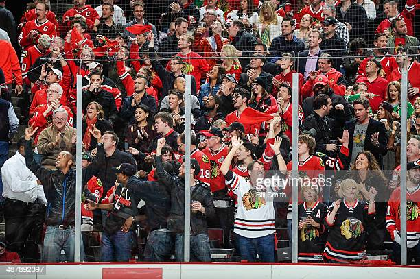 The crowd goes wild after the Chicago Blackhawks scored against the Minnesota Wild in Game One of the Second Round of the 2014 Stanley Cup Playoffs...