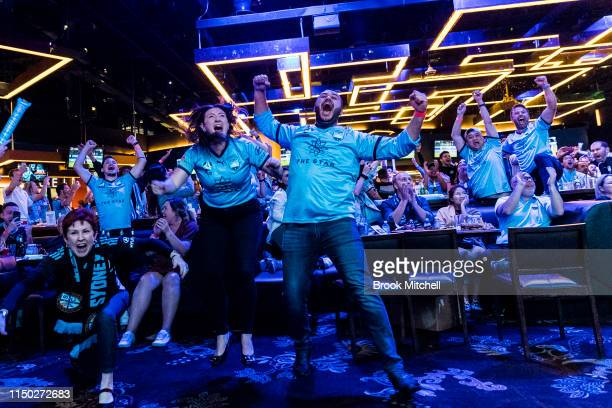 The crowd goes wild as Sydney FC defeats Perth Glory on penalties during a Sydney FC ALeague Grand Final Function at The Star on May 19 2019 in...