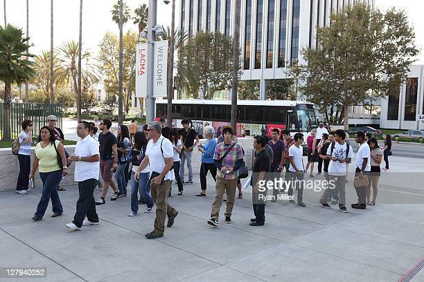 The crowd going to LACMA during the Pacific Standard Time: Art in LA 1945-1980 free day activities at the Los Angeles County Museum of Art on October...